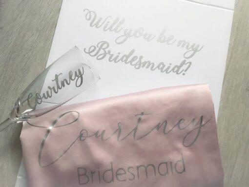 bridesmaid proposal box silver and pink
